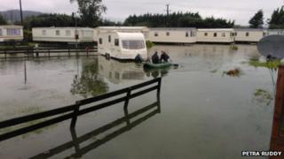 Flooded caravan park in Newcastle