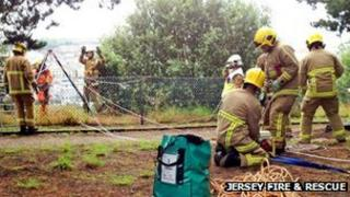 A rope rescue exercise by Jersey Fire & Rescue