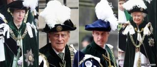Princess Anne, the Duke of Edinburgh, Prince William and the Queen
