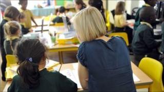 School pupil and teacher