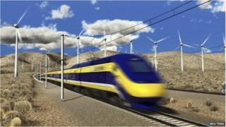 An artist's rendition courtesy of the California High-Speed Rail Authority 6 July 2012