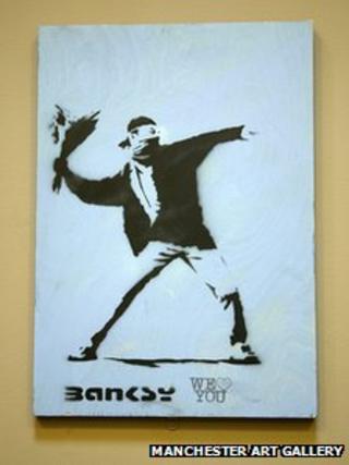 Love is in the Air by Banksy (detail)