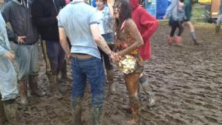 Girl covered in mud