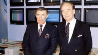 Andrew Neil and Rupert Murdoch in 1989
