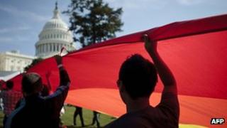 File photo of gay rights campaigners at US Capitol