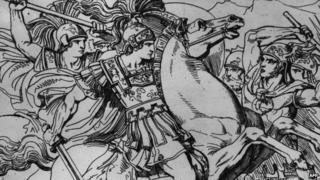 Circa 330 BC, Alexander the Great King of Macedonia, on his horse Boucephalus