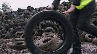 Tyres in an illegal dump