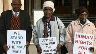 From left: Wambugu Wa Nyingi, Jane Muthoni Mara, Paulo Nzili outside the Royal Courts of Justice