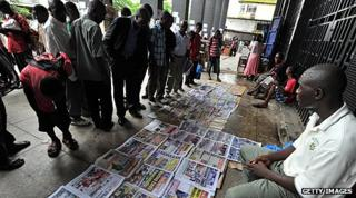 Newspaper vendor in Monrovia