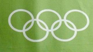 Olympic rings on banner in Cardiff