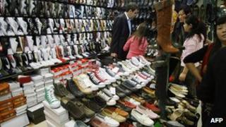 Fake sports shoes on sale in Beijing's famed Silk Market