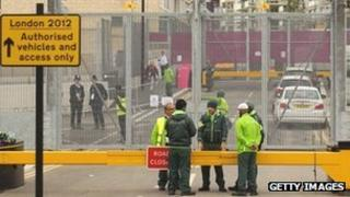 Security guards near the Olympic Park