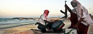 Pirates in Hobyo, Somalia (Archive shot)