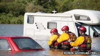 RNLI flood rescue team conducting a search in Aberystwyth