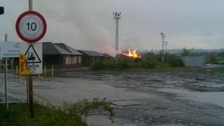 Fire at former ironworks in Derbyshire