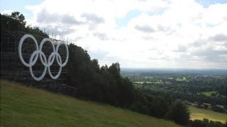 Olympic rings at Box Hill