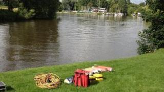 Search equipment on the River Thames at Shepperton