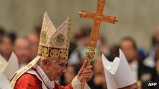 Benedict XVI leaves St. Peter's Basilica on June 29, 2012