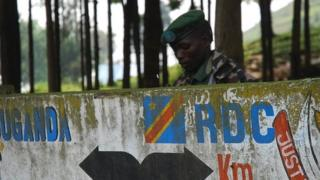 Rebel soldier on the Uganda-DRC border