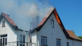 Roof destroyed by fire