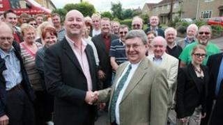 Pete Levy, left, with Lib Dem Somerset council group leader Sam Crabb and Lib Dem campaigners