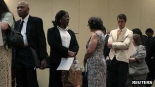 People at a job fair in New York