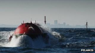The front end of a Pelamis wave power device. Pic: Pelamis