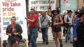 Gay Pride parade in Nottingham