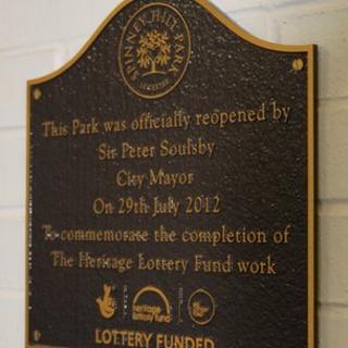 Plaque at Spinney Hill Park