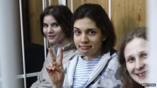 Members of the Pussy Riot band who face trial on Monday, in court on 20 July2012