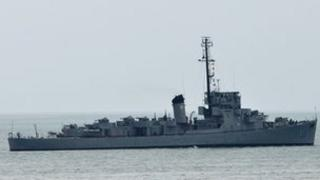 Philippine navy ship BRP Rajah Humabon leaves Subic Bay, the former US navy base, near the south China sea