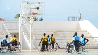 Basketball players in Juba
