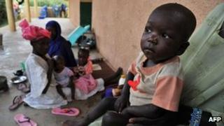Malnourished children outside hospital in Gao, Mali