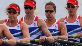 Annie Vernon (second right) rowing with Team GB