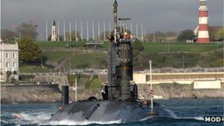 HMS Triumph at Plymouth Hoe