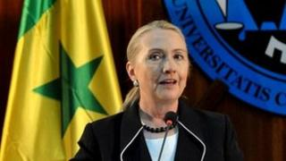 Hillary Clinton speaking at Cheikh Anta Diop University in the Senegalese capital Dakar on 1 August 2012