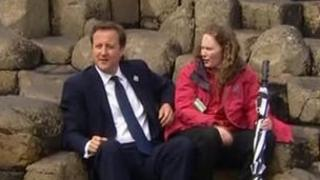 David Cameron surprised tourists when he paid a visit to the Giant's Causeway