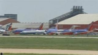 Planes grounded at San Antonio International Airport, Texas 1 August 2012