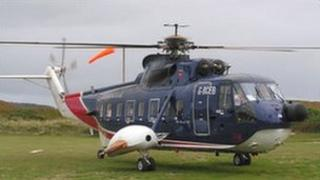 British International Helicopter on Tresco. Pic: D.Sims