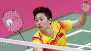 Badminton player Yu Yang competing in London 2012 Olympics