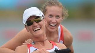 "Great Britain""s Helen Glover (R) and Heather Stanning celebrate after winning the women""s pair fina"