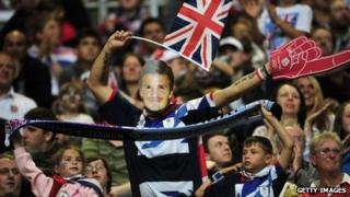 Fans at GB v Uruguay
