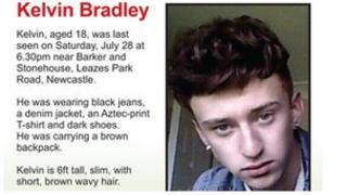Durham Constabulary missing person poster for Kelvin Bradley