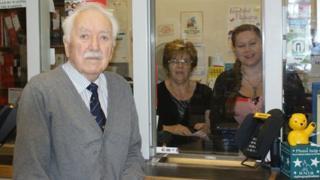 John-Pierce Margarson with post office staff Gwynneth Smith and Katrina Doughty