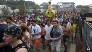 Lollapalooza festival attendees evacuate