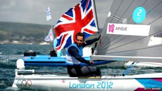 Ben Ainslie celebrates gold medal win