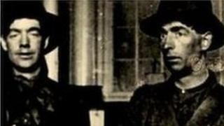 Two volunteers pictured inside Dublin's General Post Office in Easter week, 1916