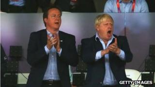 David Cameron and Boris Johnson in the Olympic stadium
