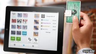 Square being used on an iPad