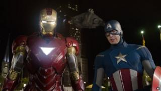 Iron Man and Captain America in a scene from Avengers Assemble